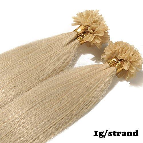 Extension capelli veri cheratina 1 grammo per ciocca 50g/pack u tip remy hair umani naturali lisci (40cm #613 biondo chiarissimo)