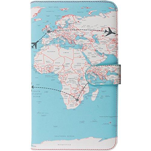 Trendz World Map Travel Passport Wallet, 23 cm, Multicolour