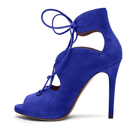 Damen Sommer Peep Toe Fellsamt Sandalen High-Heels Stiletto Schnürschuhe Blau