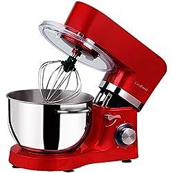 Cookmii Silencieux Robot Pâtissier, Robot Petrin, Robot mixeur, Anti-Glissement Robot Cuisine Professionnel 1500W avec Bol d'Acier inox 5.5L Coca Rouge
