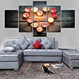 5 Poster Wall Murals Modular Painting Canvas Wall Art Pictures Decoration 5 Pieces Romantic Candle Shaped Modern Heart Hd Print Poster -Outer frame