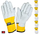 Unbekannt 5 Paar Thermo-Arbeitshandschuhe Gr.9 Thinsulate Lederhandschuh Handschuh Montage