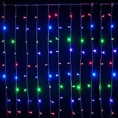 Vetrineinrete® Luci natalizie led modello tenda luci per esterno 180 led 2 metri luce multicolor fili da 1 metro addobbi per balconi P32
