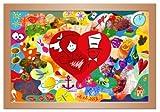 Hochzeitsgeschenke und –spiel: Das Holzmosaik, Holz Puzzle Buche 55x40 cm bemalen - Alternative zur Leinwand bemalen auf der Hochzeit