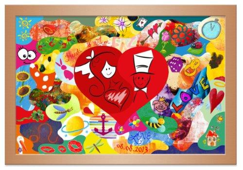Hochzeitsgeschenke und -spiel: Das Holzmosaik, Holz Puzzle Buche 55x40 cm bemalen - Alternative zur Leinwand bemalen auf der Hochzeit -