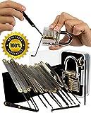 Geepro Lockpicking Lockpick set Professionelles 15-teiliges Pick-Set Schlossknacken Schlüssel Extractor Werkzeug mit Transparente Übungs-Vorhängeschlösser für Schlosserei, Schlüsseldienst, Geocacher, Polizei oder Hobby