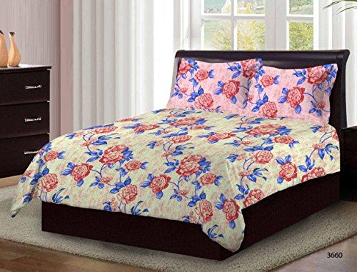 Bombay Dyeing Cardinal 100% Cotton Double Bedsheet with 2 Pillow Covers- With Beauthiful Floral Printed Design Blue And Cream Pink Color TC-104  available at amazon for Rs.699