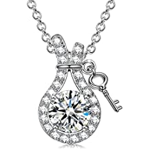 Sivery Key to Heart' 925 Sterling Silver Necklaces Cubic Zirconia Pendant, Jewellery for Women, Gifts for Women