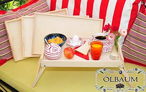 4 Betttabletts, natur, massiver und hochwertiger Beistelltisch, Tablett mit zwei Tragegriffen, Maße viereckig, 35 cm x 50 cm x 20 cm, nutzbar als Frühstückstisch oder Serviertisch, Picknick