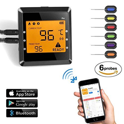Bluetooth 4.0 Barbecue Backofen Grillthermometer, LESHP Wireless BBQ Thermometer Digitales Bratenthermometer mit 6 Temperaturfühler/Temperaturalarm/Thermometer Timer/APP App für Android 4.3 & iOS 7