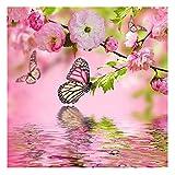 DIY 5d Diamant painting Voll Rosa Blume und Schmetterling Muster Handgemachtes Klebebild Vorbedruckte Sets Kreuzstich Wanddekoration