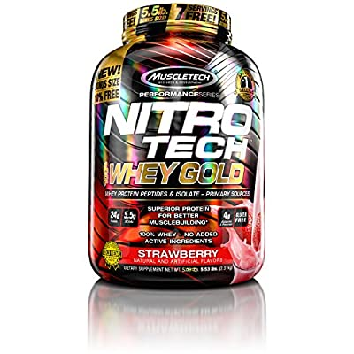 Muscletech Nitro-Tech 100% Whey Sports Supplement, 2.51 kg, Strawberry