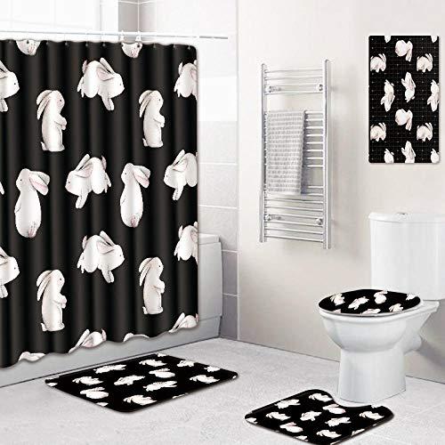 WOSBE Bad duschvorhang Teppich Matte 5-Teiliges Printed animalduschvorhangBadezimmermatten-Set, mit 12 Haken und Rutschfestem WC-Vorleger & Deckel Badematte, Badezimmer-Dekoration 45 * 75cm @B -
