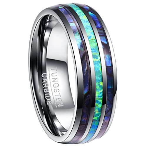 Nuncad Ring Damen/Herren Opal + Muschel Silber 8mm, Unisex Wolfram Ring Comfort Fit Design für Hochzeit, Alltag und Jahrestag, Größe 54 (14)