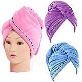 3 Stück Haarturban Handtuch Mikrofaser Absorbent Haar Turban Schnell Trocknen Haartrockentuch Schnelltrocknend Saugfähiges Handtücher Haar Trocknendes Tuch für Mädchen Frauen (Deep Rosa Lila Blau)