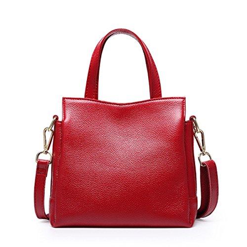 ZPFME Womens Handtasche Leder Handtaschen Lässig Einfach Handtasche Leder Drei Fach Mädchen Party Retro Damen Mode Damen Tasche Red