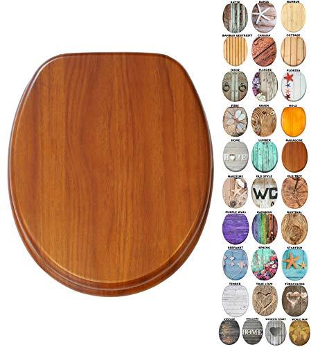 WC Sitz mit Absenkautomatik, viele schöne Holz WC Sitze zur Auswahl, hochwertige und stabile Qualität (Mahagoni)