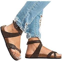 Mujer Romano Sandalias Plano Zapatos Gladiador Clip Toe Sandalias, Chancletas Hebilla Romano Peep Toe Elegante Bohemia Playa Sandalias Marrón 38 Juleya