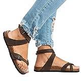 Mujer Romano Sandalias Plano Zapatos Gladiador Clip Toe Sandalias, Chancletas Hebilla Romano Peep Toe Elegante Bohemia Playa Sandalias marrón 42 Juleya