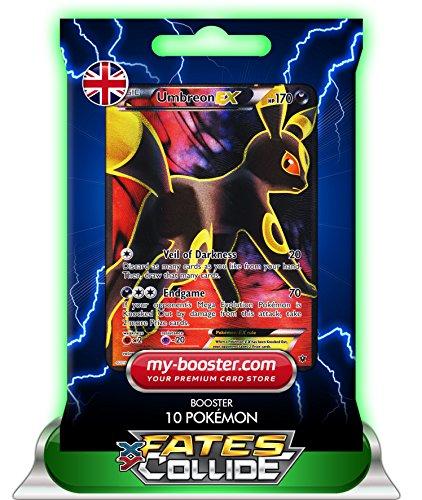 Preisvergleich Produktbild MEGA M UMBREON EX (Nachtara) Full Art 119/124 170HP XY10 FATES COLLIDE - Booster mit 10 Englisch Karten Pokemon my-booster