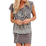 Sexy Strandkleid Damen Hevoiok Elegant Retro-Druck Minikleid Sommer Kleid Frauen Casual Rundhals Top Kleider Oberteile (Grau, 2XL)