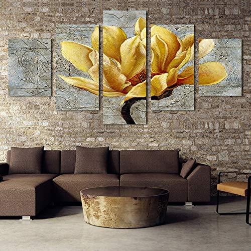 mmwin 5 Panel Leinwand Gold Orchidee Blume Moderne Wohnkultur Für Wohnzimmer Wandkunst Bild HD Gedruckt Poster Kunstwerk