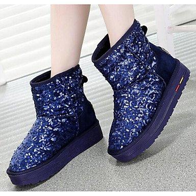 Stivali da donna Comfort Real Cuoio Nubuck in pelle Primavera Casual Comfort Blue Black Flat Blue