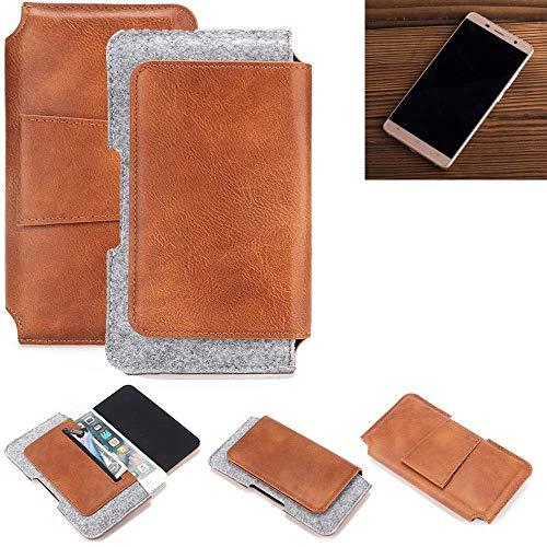 K-S-Trade Cubot Cheetahphone Gürteltasche Schutz Hülle Gürtel Tasche Schutzhülle Handy Smartphone Tasche Handyhülle PU + Filz, braun (1x)