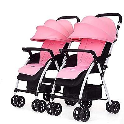 MRXUE Twin bebé Cochecito Sentarse/Recumbent Ligero Plegable Desmontable Ultralight Amortiguador de Choque Adecuado para 0-3 años de Edad