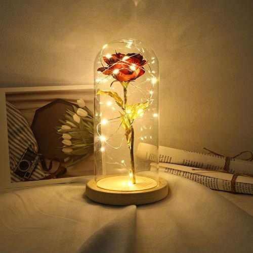 omantisch Rose Blumen Die Schöne und das Biest Rose Kit Nachtlampe Party Hochzeit Dekor Valentinstag Hochzeitsgeschenk ()