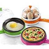ORZIX 2 in 1 Electric Egg Boiling Boil-Dry Temperature Protection New Unique Multifunctional Steamer Egg Frying Pan Egg Boile