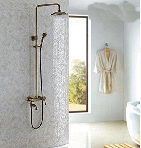 Gowe Wand montiert Messing antik 20,3cm rund Regen Dusche Wasserhahn Schwenkauslauf Badewanne Einhandmischer W/Hand Dusche Spritze (Badewanne Dusche Wasserhahn Sprayer)