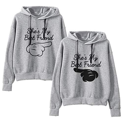 Best Friends Hoodies Für 2 Mädchen Sister Pullover Mit Kapuze Beste Freunde Pullover Pullis Teenager Mädchen Weiß Schwarz Geschenk 2 Stücke(Grau,bai-M+HEI-S)