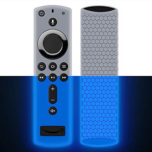 Hydream Schutzhülle für Fire TV Stick 4K / 4K Ultra HD mit der Neuen Alexa-Sprachfernbedienung (2.Gen), Leichte rutschfeste Stoßfeste Silikon Fernbedienung Silikonhülle Cover Hülle (Glow Blue)