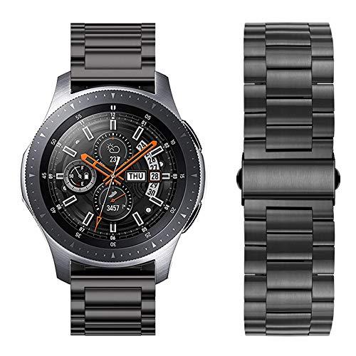 iBazal 22mm Armband Metall Stahl Metallarmband Uhrenarmband Ersatz für Samsung Galaxy Watch 46mm SM-R805/800,Gear S3 Frontier/Classic,Huawei GT/2 Classic/Honor Magic,Ticwatch Pro Uhrarmband - Schwarz