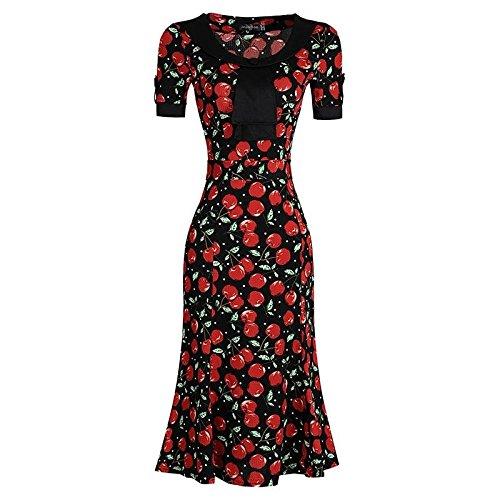 Jeansian Femmes Fashion Slim Robe Retro Bow Neck Manches Courtes Slim OL Sexy Dress WKD276 Black&Red