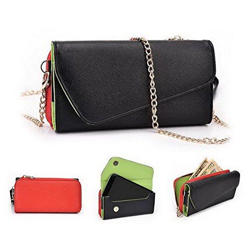 Kroo d'embrayage portefeuille avec dragonne et sangle bandoulière pour Huawei Ascend P1S Multicolore - Green and Pink Multicolore - Noir/rouge