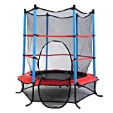 IRIS Fitness 55' Round Kids Mini Trampoline w/ Enclosure Net Pad Rebounder Outdoor Exercise