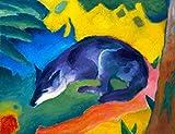 Kunstdruck/Poster: Franz Marc Blauschwarzer Fuchs - hochwertiger Druck, Bild, Kunstposter, 60x45 cm