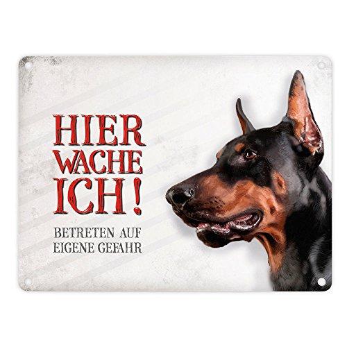 Metallschild mit Dobermann Motiv und Spruch: Betreten auf eigene Gefahr - Hier wache ich!
