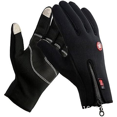 Nueva Windstopper térmico forro polar invierno ciclismo Guantes de pantalla táctil dedo completo cálidos deportes al aire libre Ciclismo Racing guantes calentadores de mano impermeable XL negro