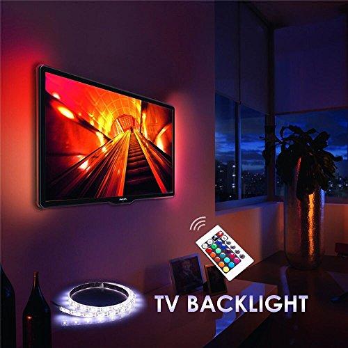 Dulexon Bias Beleuchtung für HDTV, LED-Streifen Licht / USB LED TV-Hintergrundbeleuchtung-Kit für Heimkino, Unterschrank, PC Monitor, Möbel, Dekor (Multi-Color RGB, USB angetrieben, Fernbedienung)