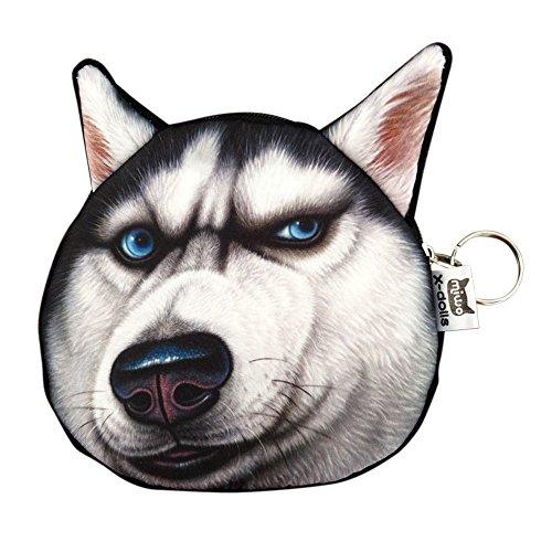 Lebensechte Hund Gesicht Zipper Tasche Münze Änderung Geldbörse Wallet Tasche Beutel Handtasche (Hund Geldbörsen Handtaschen)