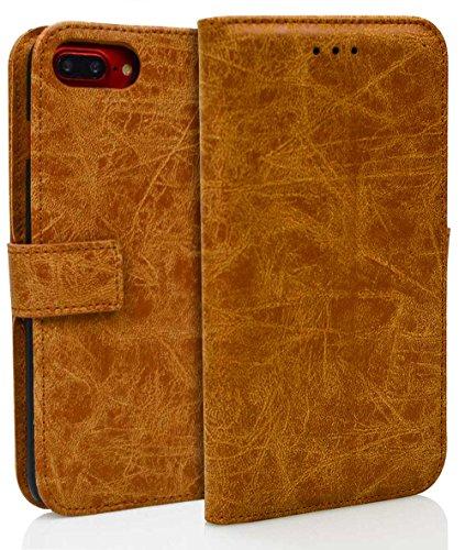 Para iPhone 7/7G (4,7 zoll) Funda, Ecoway(Marrón claro) Cuero de la PU Leather Cubierta ,Función de Soporte Billetera con Tapa para Tarjetas Soporte para Teléfono Hebilla del imán