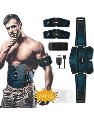 Hieha Electrostimulateur Musculaire, EMS Ceinture Abdominale Electrostimulation, ABS Stimulateur Musculaire avec 8 Modes Trainer pour Abdomen/Bras/Jambes