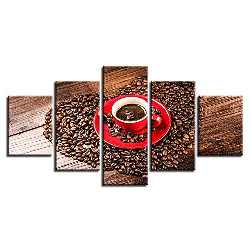 Ycollc stampato modulare hd immagine tela tela 5 pezzi a forma di cuore chicchi di caffè dipinti di arte della parete moderna poster decor per soggiorno