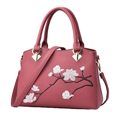 Mode Druck Blumen Schultertasche Messenger Tasche Handtasche Handtaschen Freizeit Wild Red2