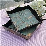 Bandeja antigua cuadrada rústica Casa madera Frutero fruit bowl bandeja almacenamiento , 25*25*6cm