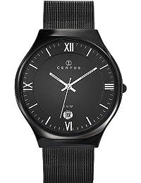 Certus 616278 - Reloj analógico de cuarzo para hombre, correa de acero inoxidable color negro