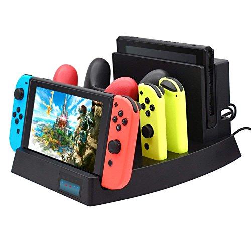 Expresstech @ Ladestation Playstand ständer Ladegerät Vertikale Ladehalterung Dock mit LED Anzeige für Nintendo Switch Konsole Joy-Con Controller Switch Pro Controller